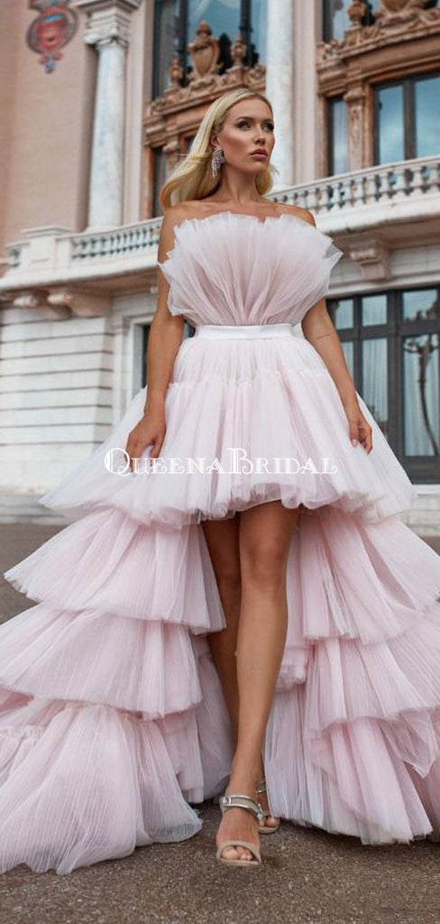 High Low Newest Strapless Pink Tulle A-line Long Cheap Prom Dresses, PDS0091
