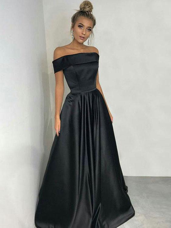 Princess Off the Shoulder Black Satin Long Simple Prom Dresses, QB0347