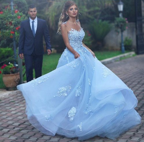 Baby Blue Illusion Neck Long Cheap Tulle Prom Dresses With Applique, QB0668