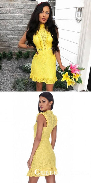 Elegant Sheath High Neck Sleeveless Yellow Lace Homecoming Dresses, QB0889