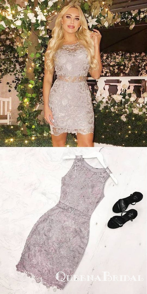 Elegant Sheath Jewel Sleeveless Grey Lace Short Homecoming Dresses, QB0888
