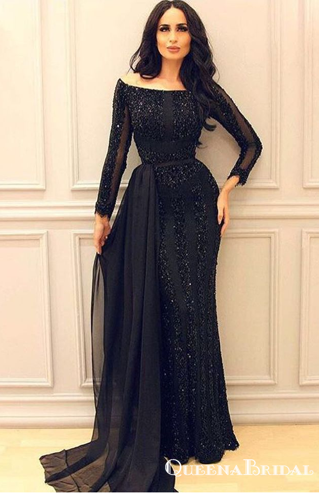 Sexy Black Long Sleeve 2019 Mermaid Sequins Long Cheap Prom Dresses, QB0798