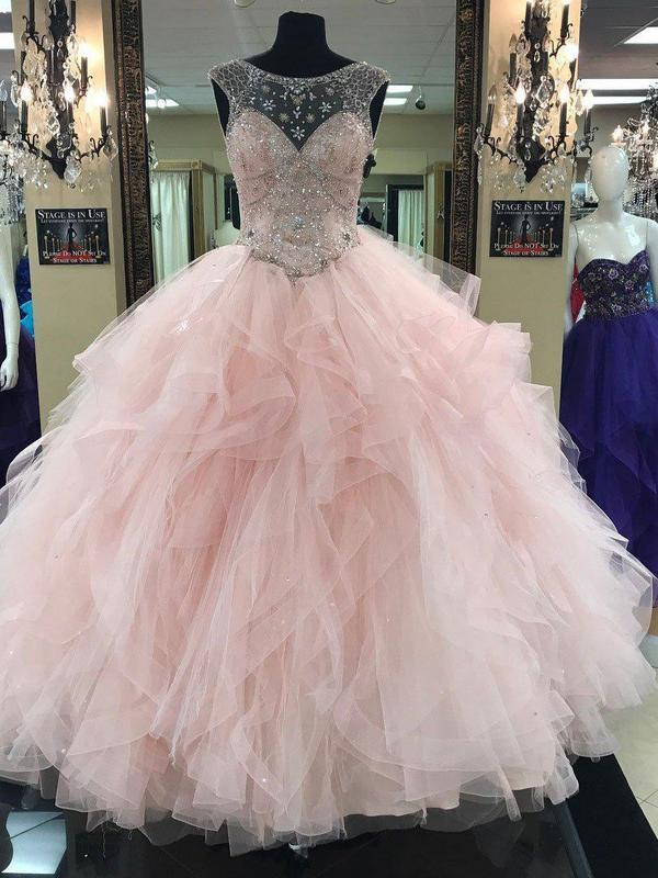 Prom Ball Gown See Through Neck Tulle Light Pink Quinceanera Prom Dresses, QB0320