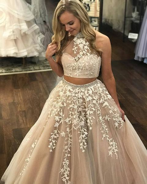 Lace Appliqued Two Piece Long Cheap Halter Ball Gowns Prom Dresses Qb Queenabridal