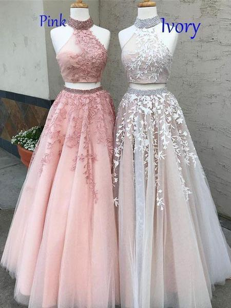 966b79f043a Lace Appliqued Two Piece Long Cheap Halter Ball Gowns Prom Dresses ...