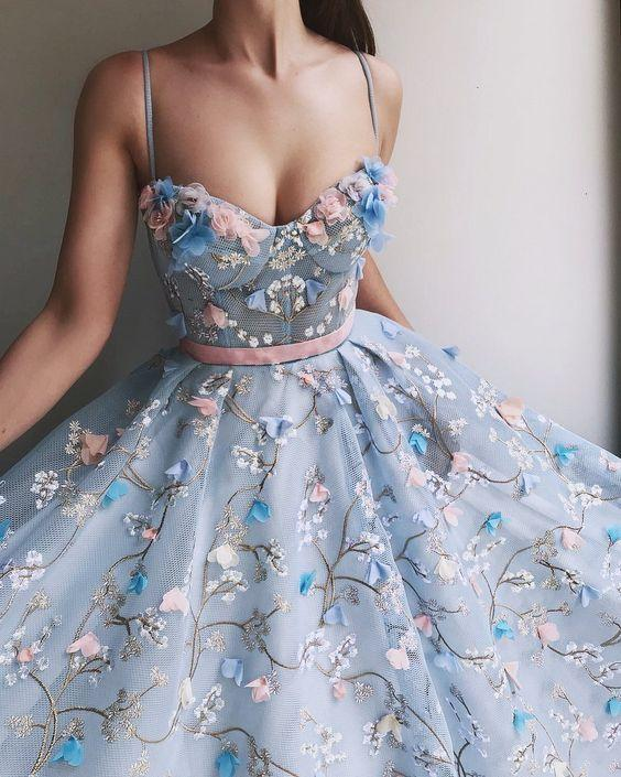 Spaghetti Strap 3D Flower Applique Ball Gowns Sky Blue Prom Dresses, QB0257