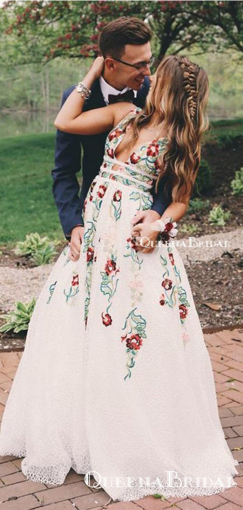 2020 V Neck White Embroidery Long Cheap  Evening Prom Dresses, QB0411