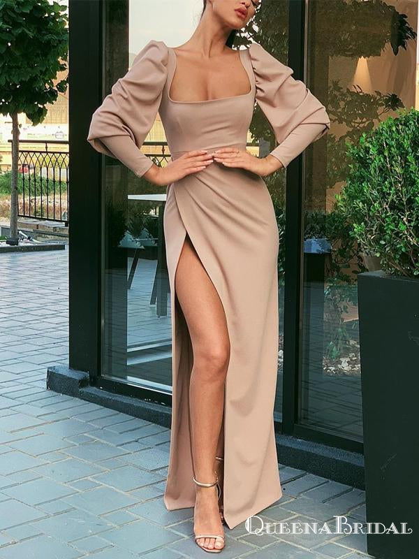 Charming Elegant Square Neckline Long Sleeves High Side Slit Long Cheap Simple Prom Dresses, PDS0020