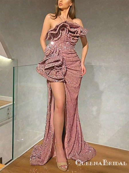 Unique Design Sparkly Pink Sequin Sweetheart Sleeveless Side Slit Long Cheap Mermaid Prom Dresses, PDS0001