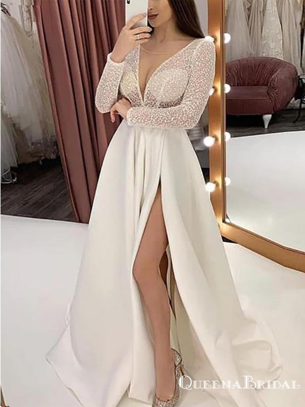 Sexy Deep V-neck Long Sleeves White Satin Side Slit A-line Long Cheap Formal Evening Prom Dresses, QB0971