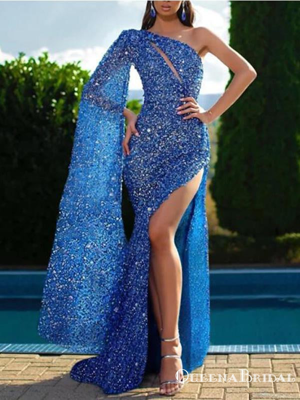 Newest Charming One shouder Long Sleeves Sparkly Blue Sequin Side Slit Long Cheap Prom Dresses, PDS0022