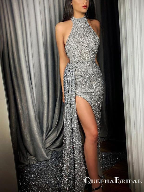 Hot Selling Sparkly Halter Sleeveless Silver Sequin Side Slit Long Cheap Mermaid Prom Dresses, QB0953