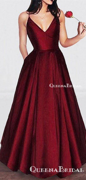 A-line V-neck Spaghetti Strap Burgundy Prom Dresses Long Formal Evening Ball Gowns, QB0338