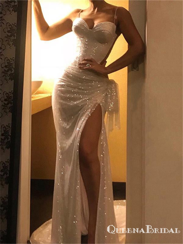 Charming Elegant Spaghetti Strap Sleeveless Sparkly Sliver Sequin Side Slit Long Cheap Prom Dresses, PDS0005