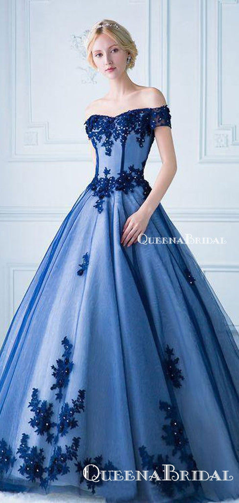 Ball Gown Off the Shoulder Lace Appliqued Long Prom Dresses, QB0318