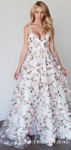 A-line Princess V-neck Floral Prom Dresses Long 3D Appliqued Lace Formal Dresses, QB0274