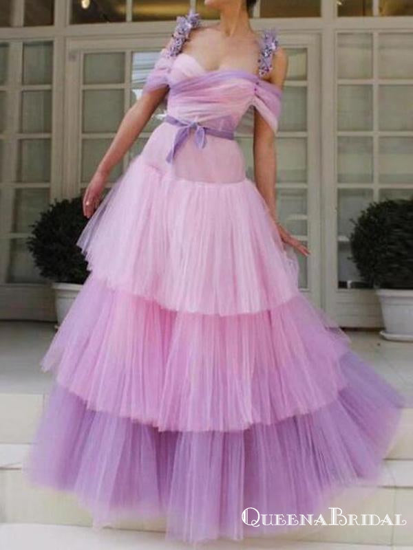 Gorgeous Spaghetti Strap Off-The-Shoulder Tulle A-line Appliqued Long Cheap Prom Dresses, PDS0026