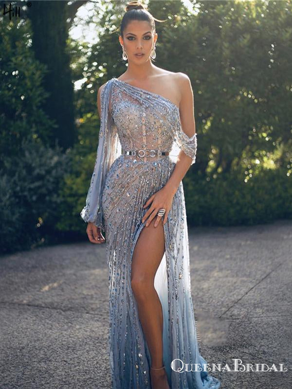 Gorgeous Charming One-Shoulder Long Sleeve Sparkly Beaded Long Cheap Mermaid Prom Dresses, PDS0016