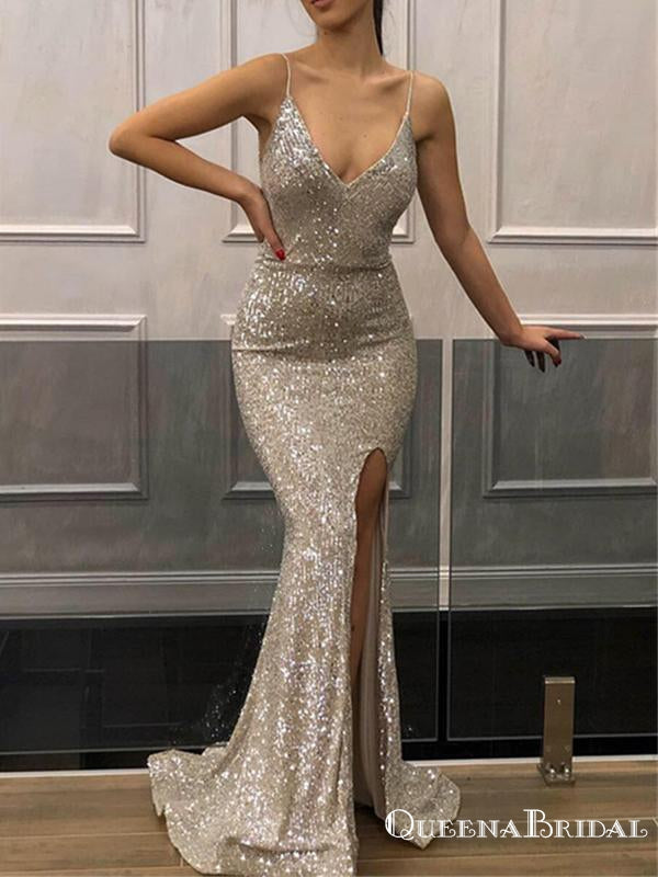 Sparkly Simple Spaghetti Straps Sleeveless Silver Sequin Long Cheap Memaid Prom Dresses, QB0958