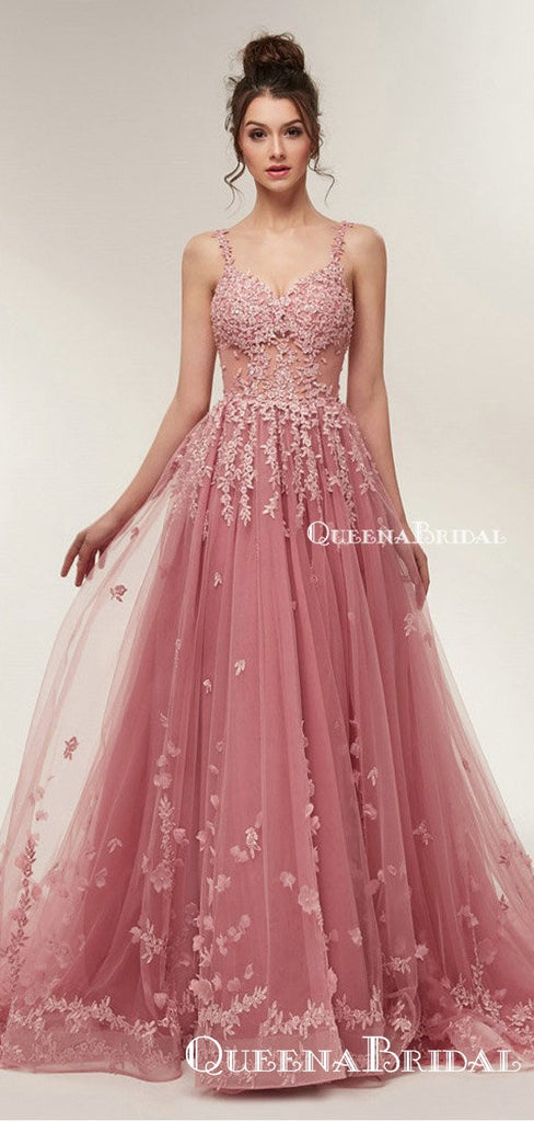 See Through Dusty Pink Lace A-line Long Evening Prom Dresses, QB0377