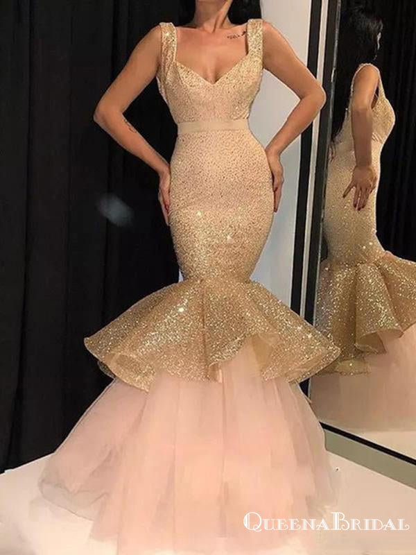 Charming New Arrival Square Neckline Sleeveless Sparkly Champagne Sequin Mermaid Long Cheap Prom Dresses, PDS0029