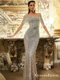 Off-The-Shoulder Spaghetti Strap Sleeveless Sparkly Silver Sequin Mermaid Long Cheap Prom Dresses, PDS0009