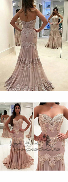 Strapless Sweetheart Neck Vintage Lace Mermaid Prom Dresses, QB0310