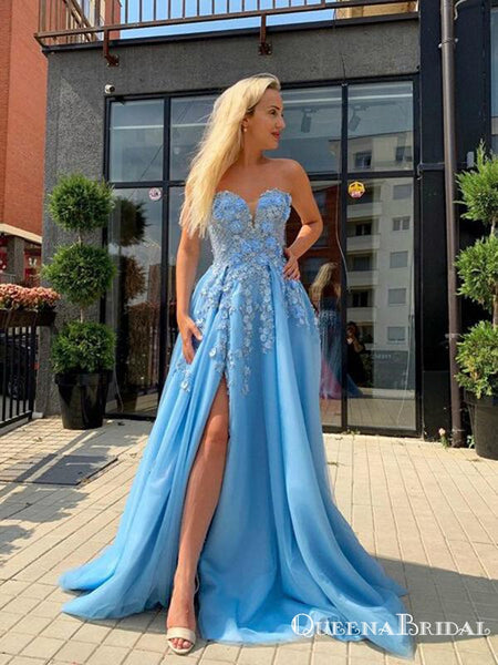 Light Blue Princess A Line Sweetheart Appliques Flowers High Slit Tulle A-line Long Cheap Prom Dresses, PDS0043
