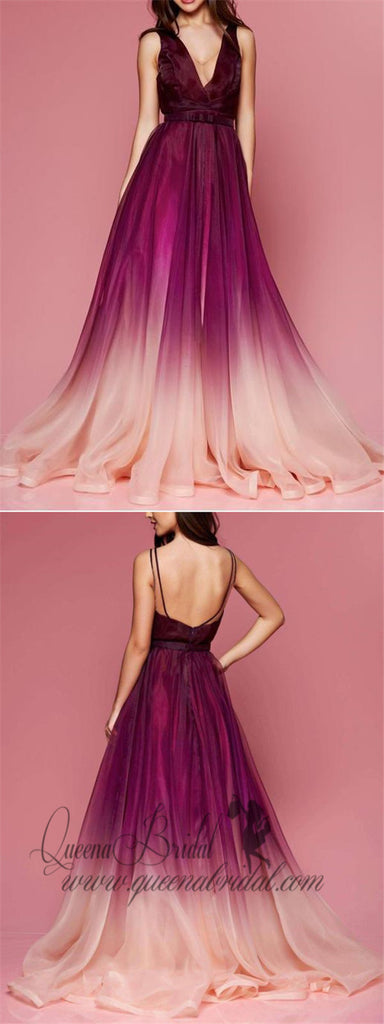 Maroon Ombre Prom Dresses V Neck Cheap Long Formal Dresses for Women, QB0316