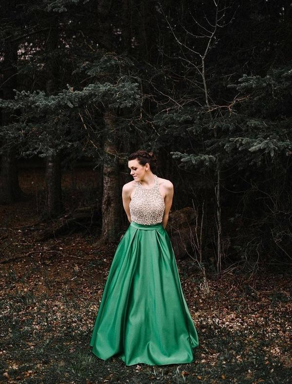 Halter Beaded Green Skirt A-line Long Evening Prom Dresses, QB0445