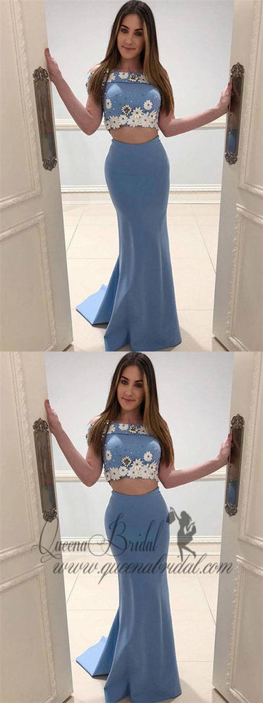 Sexy Off Shoulder Two Pieces Blue Long Cheap Evening Prom Dresses, QB0416