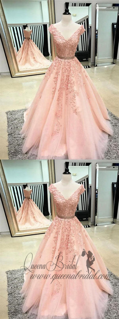Pink V-neck Cap Sleeves Peach Lace A-line Long Evening Prom Dresses, QB0394