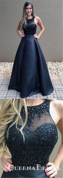 Cheap Black Beaded Long A-line Formal Ball Gown Prom Dresses, QB0604