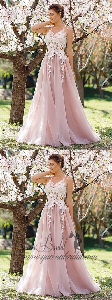 Jewel Neck A-line Lace Applique Pink Evening Prom Dresses, QB0455