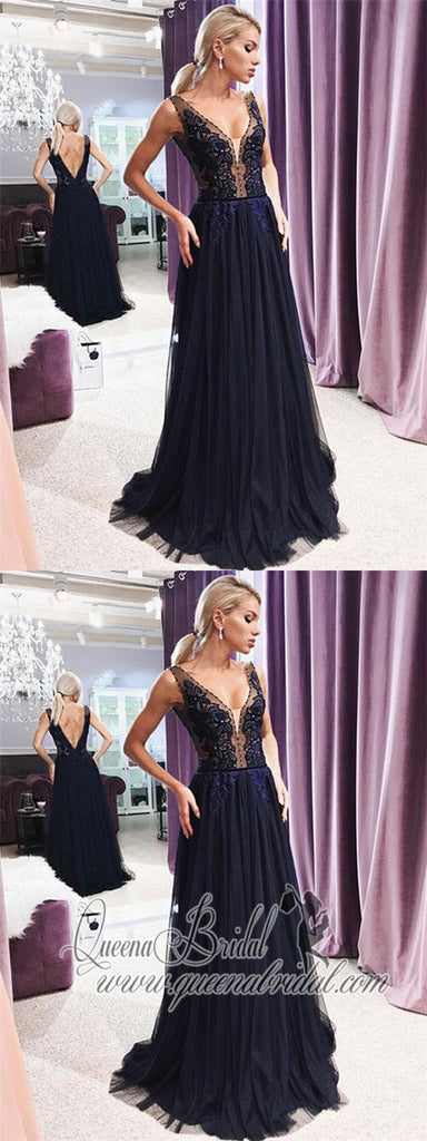 Dark Navy Blue V Neck See Through Long Evening Prom Dresses, QB0413