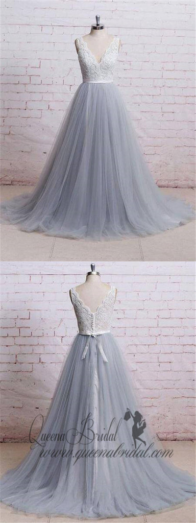 A-line V-neck Ivory Lace Bodice Grey Tulle Skirt Chapel Train Prom Dresses, QB0275
