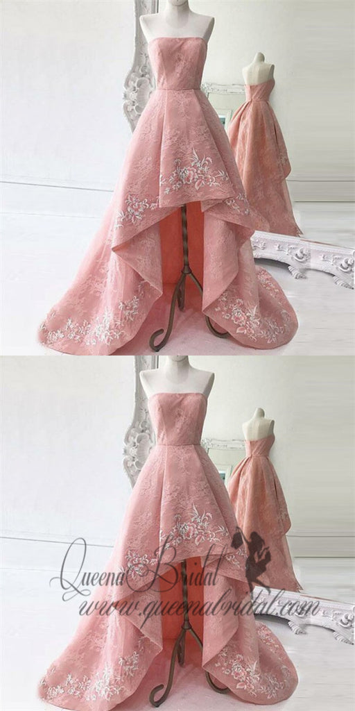 A-Line Strapless Asymmetry Pink Lace Prom Dresses with Appliques, QB0246