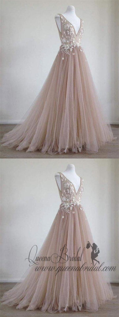 A Line Lace Appliqued V-Neck Prom Dresses Chic Nude Quinceanera Prom Dresses, QB0281