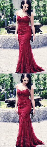 Elegant Spaghetti Straps Long Lace Mermaid Evening Prom Dresses, QB0461
