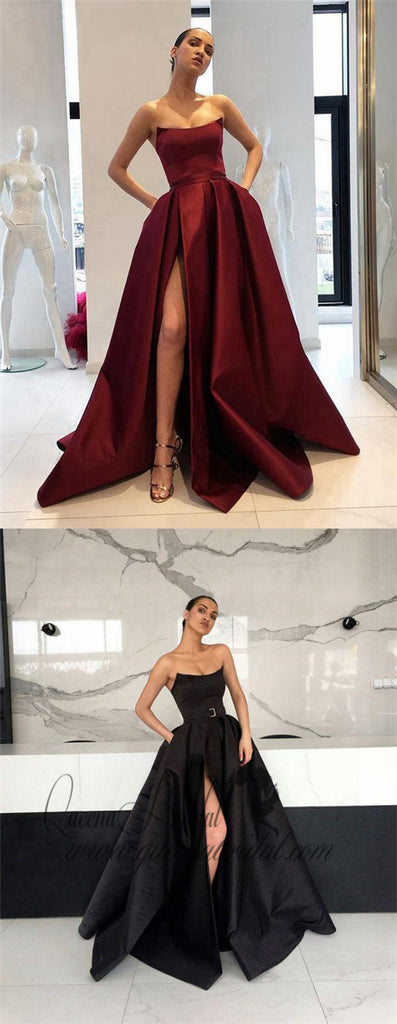 Simple Side Slit Cheap Maroon A-line Long Evening Prom Dresses, QB0423