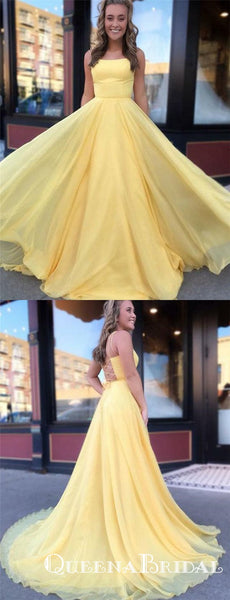 Charming Simple Yellow Long Cheap Spaghetti Straps Prom Dresses, QB0637