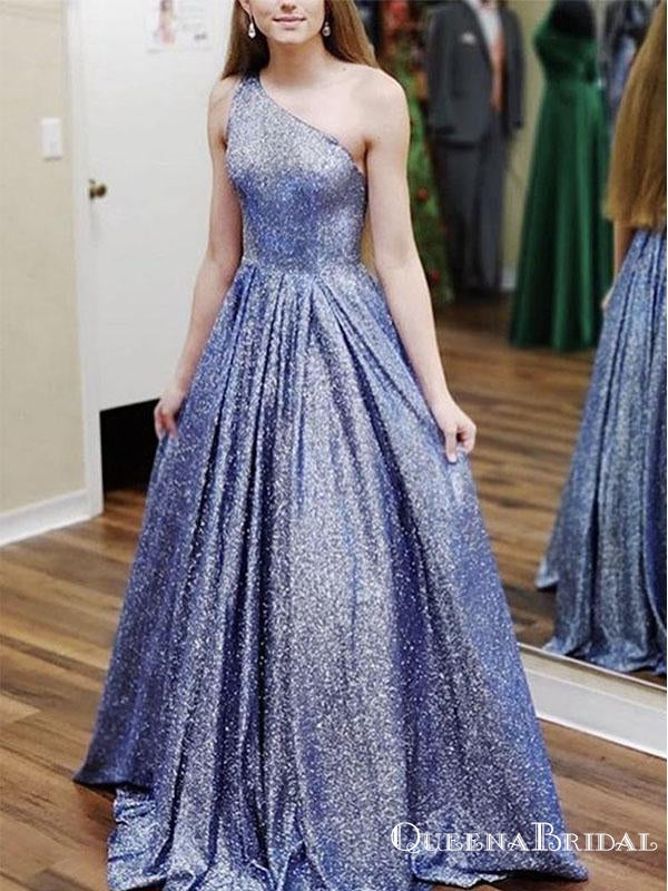Charming Elegant One Shoulder Sparkly Blue Sequin A-line Long Cheap Formal Evening Prom Dresses, PDS0032