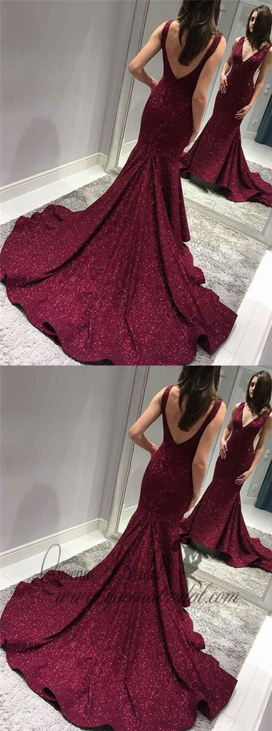 2019 Sexy Backless Maroon Sequin Mermaid Long Evening Prom Dresses, QB0433