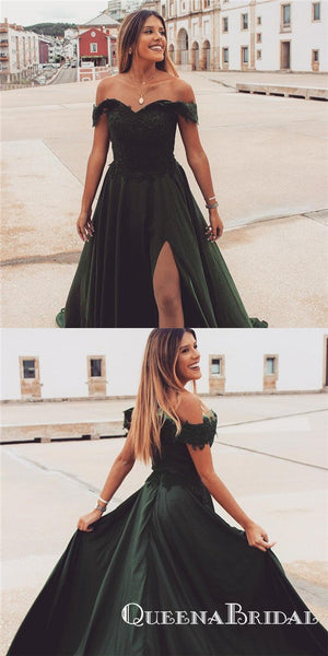 A Line Off The Shoulder Green Long Cheap Prom Dresses With Appliques Split, QB0686