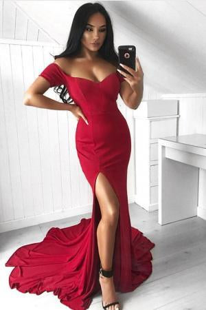 Simple Off Shoulder Side Slit Mermaid Cheap Long Evening Prom Dresses, QB0437