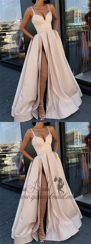 2019 Simple Straps A-line Side Slit Simple Long Evening Prom Dresses, QB0396
