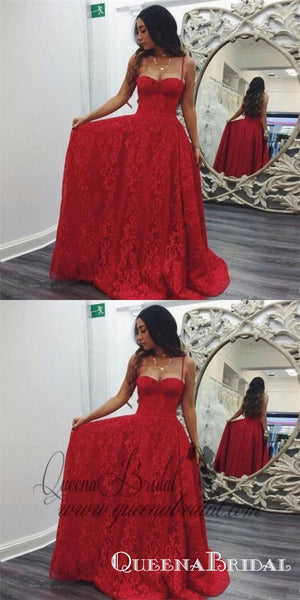 A-Line Spaghetti Straps Sweep Train Red Lace Prom Dresses Online, QB0250