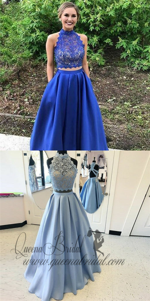 Two Piece High Neck Open Back Royal Blue Satin Prom Dresses with Lace Pockets, QB0245
