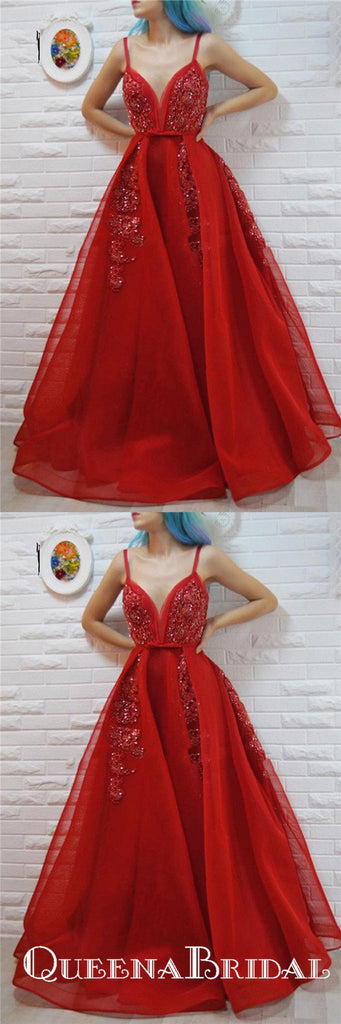 A-Line Spaghetti Straps Red Beaded Prom Dresses with Appliques, QB0711