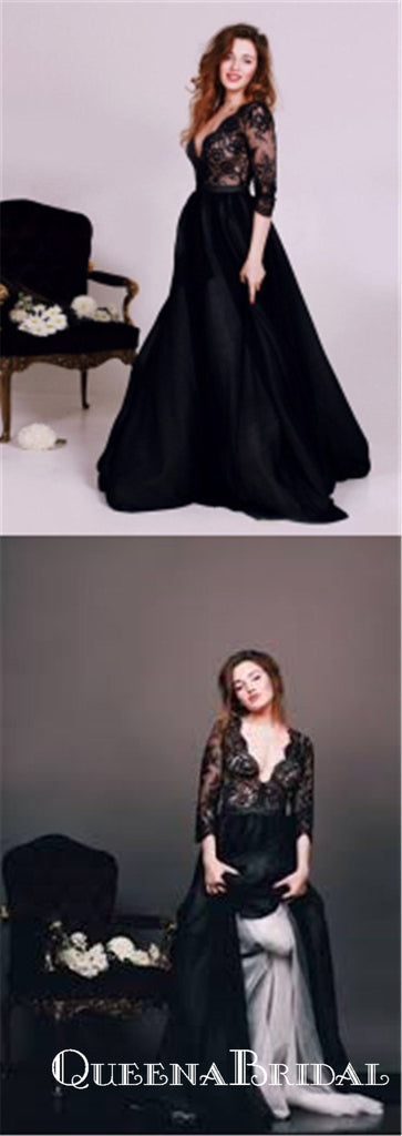 Honorable Black Deep V-neck 3/4 Sleeves Long Cheap Prom Dresses with Lace, QB0572